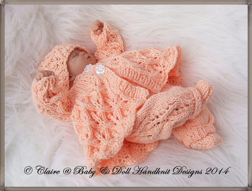 "BABYDOLL HANDKNIT DESIGNS KNITTING PATTERN FRILLED ROMPER SET 7-12/"" DOLL"
