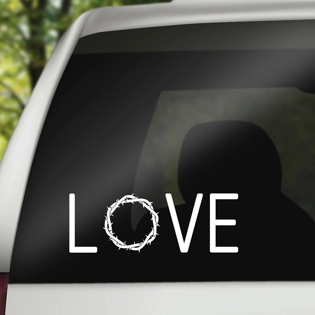 Love Thorn Crown Decal Christian Decals Christian Car Decals Window Stickers Christian Car Decals [ 1024 x 1024 Pixel ]