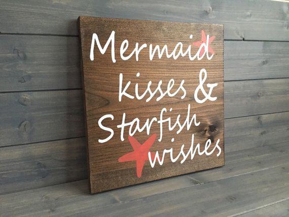 Mermaid Kisses and Starfish Wishes Sign, Mermaid sign, Beach decor, Mermaid decor, Nautical decor, Mermaid birthday, Mermaid room decor #mermaidsign