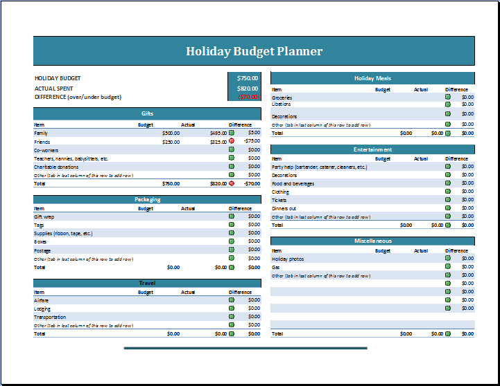 Holiday Budget Planner Template  Tickets    Budget