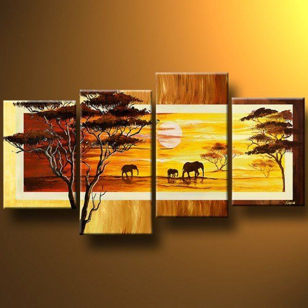 Aliexpress.com : Buy 100% hand painted discount 4 panel wall art ...