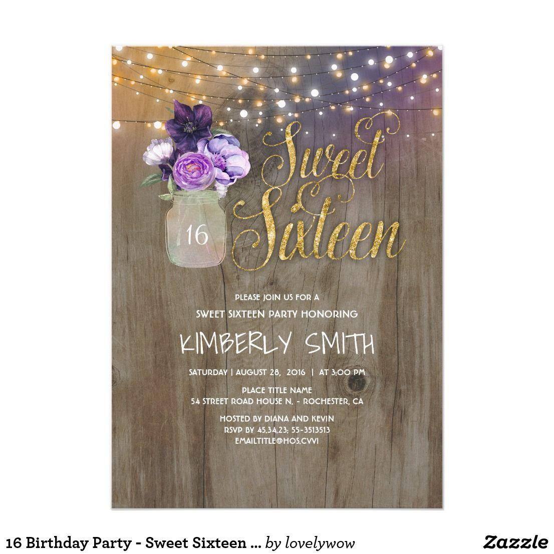 16 Birthday Party - Sweet Sixteen Mason Jar Purple Card 16th ...