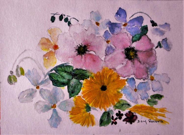 Tableau Fleur Bouquet Anglais Peinture Aquarelle Sur Papier