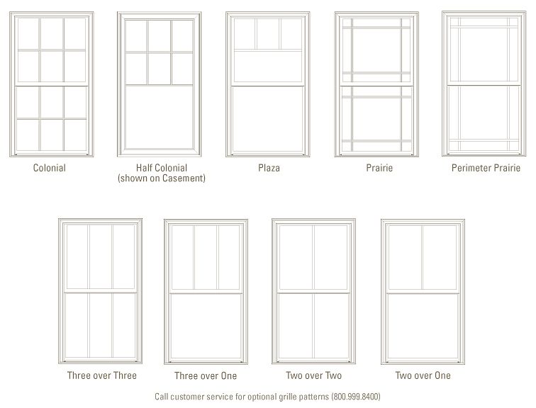 Standard Grille Patterns Windows Exterior Ply Gem Window Styles