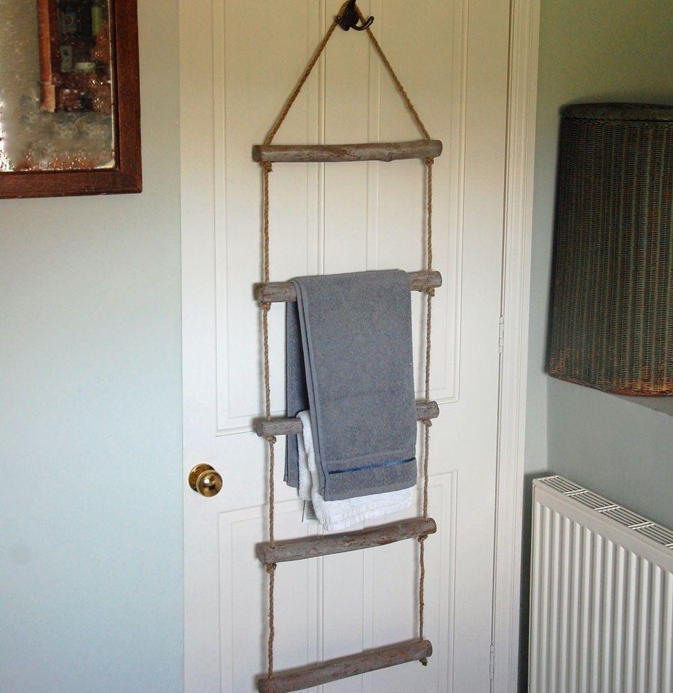 Bowley & Jackson Wooden rope towel bathroom ladder Bowley & Jackson