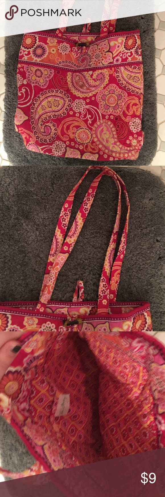 Vera Bradley raspberry fizz bag Original. Perfect condition. Vera Bradley Bags Totes