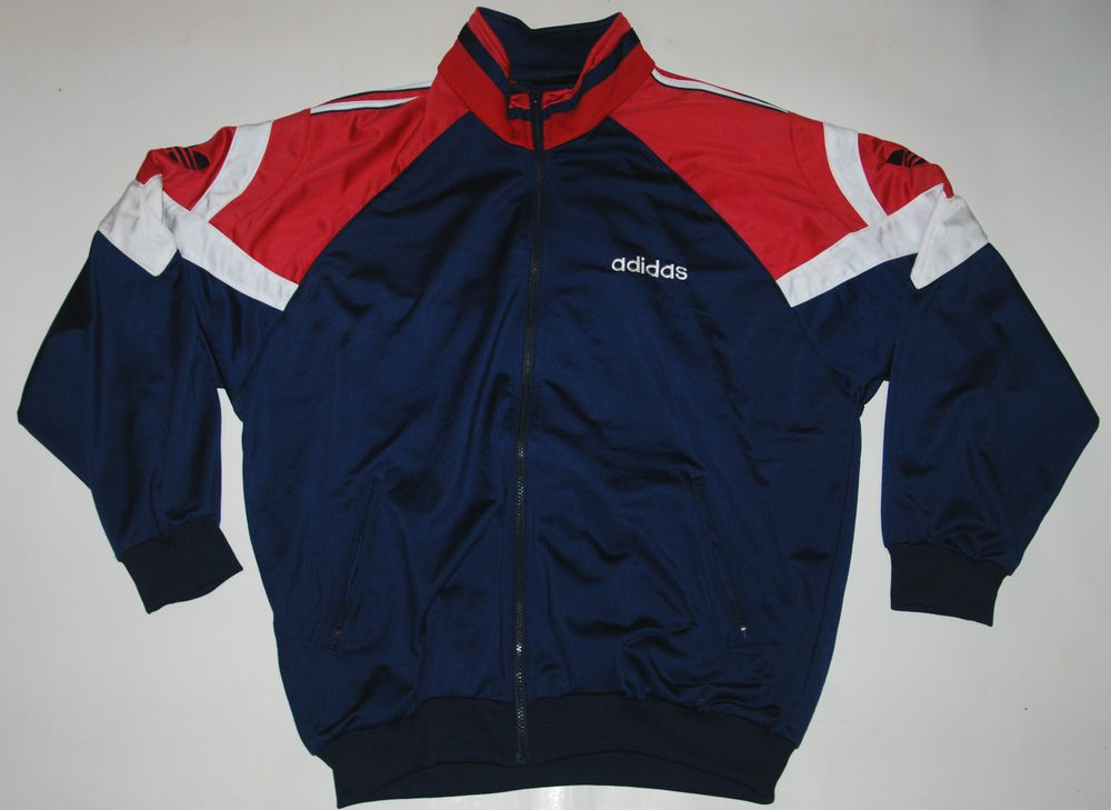 VINTAGE ADIDAS TRACKSUIT TOP JACKET MENS WOMENS BLUE RED WHITE 44 46 L