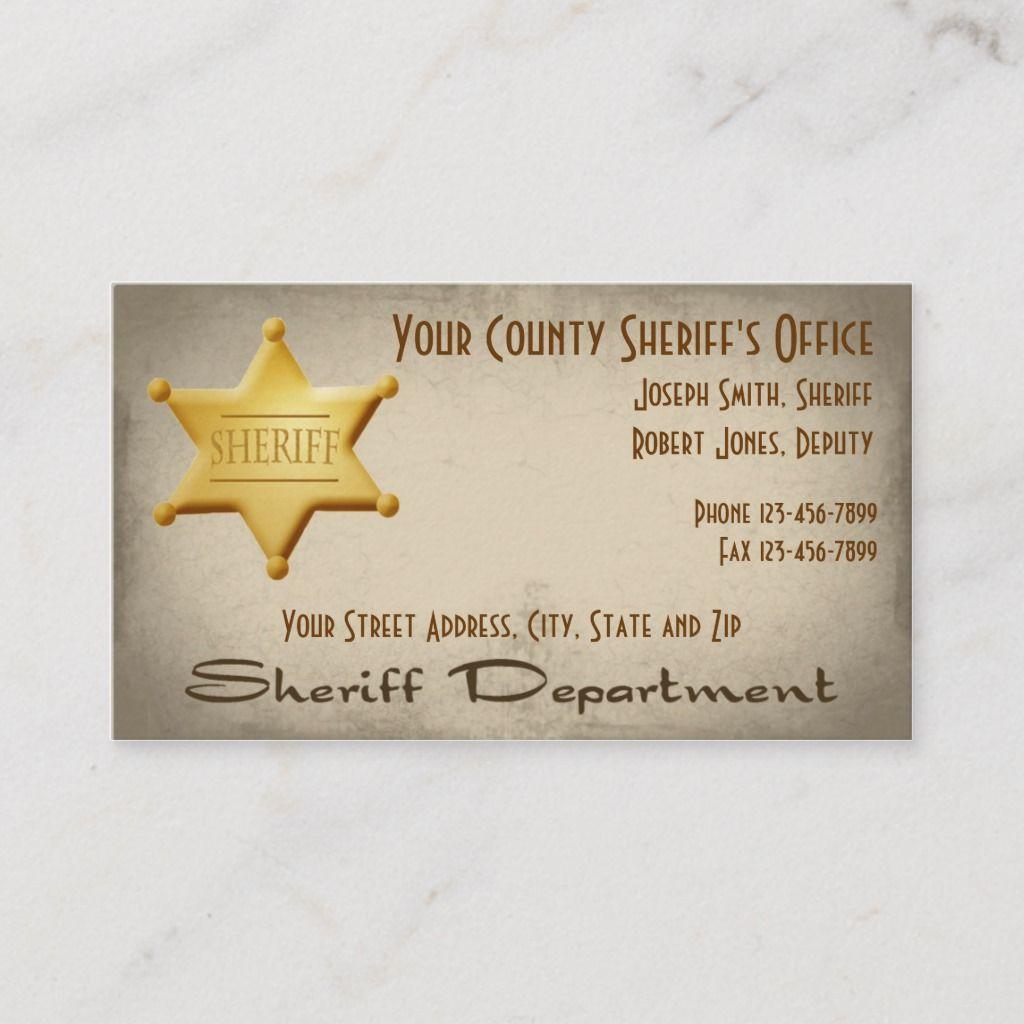 Sheriff Business Card Zazzle Com In 2021 Business Card Design Business Cards Custom Business Cards
