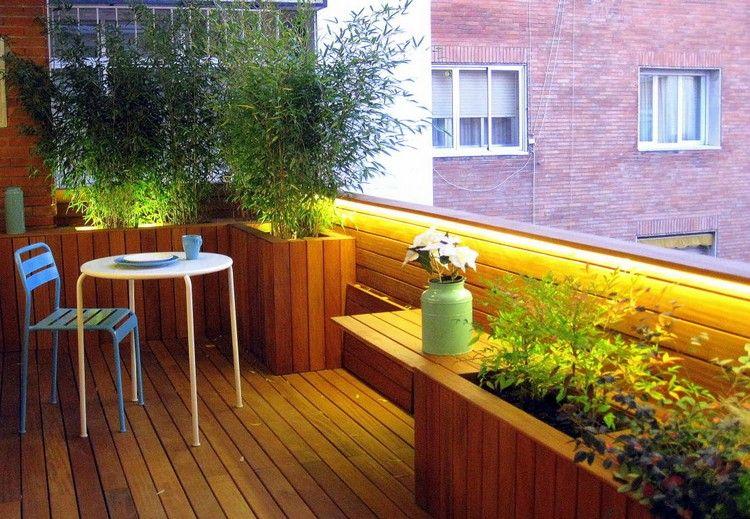 Balkon Sichtschutz Pflanzen Bambus Holz Boden Gelaender Verkleidung