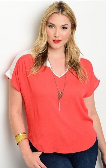 Orange Color Block Casual Top