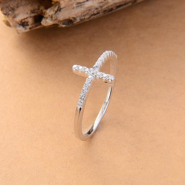 Trend Sideways Cross silver plated rings Fashion Jewelry free