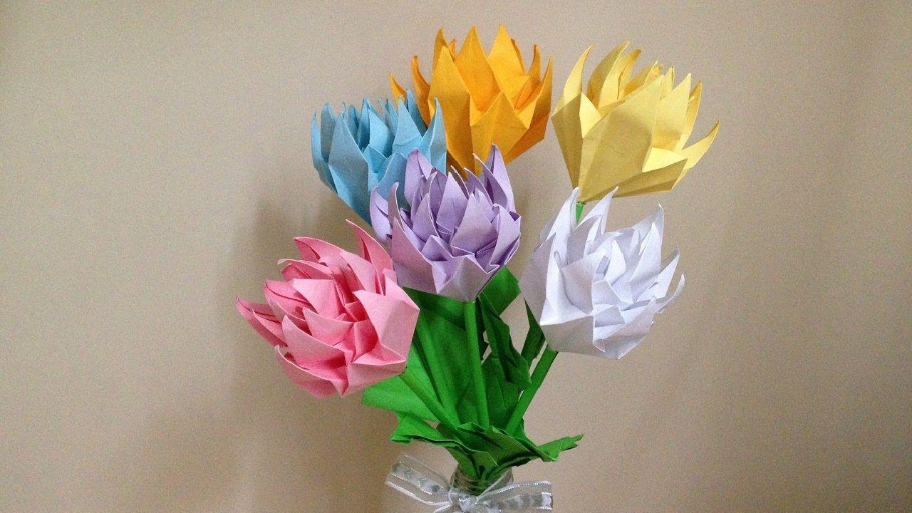 折り紙 菊の花と葉 立体 簡単な折り方(niceno1)Origami chrysanthemum ...