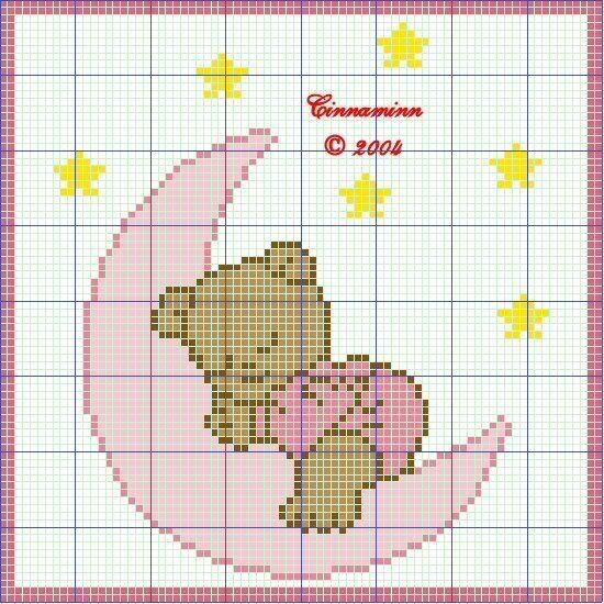 patrones gratis de punto de cruz bebé en lunas - imagui | babero2