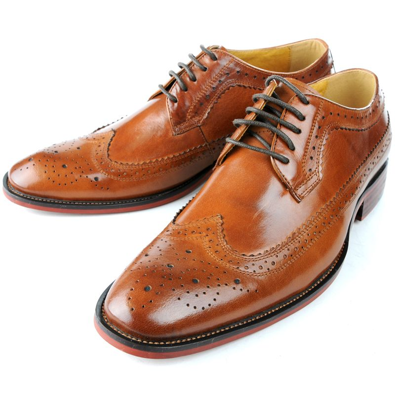 us5 12 real leather brogue wingtip lace up formal dress