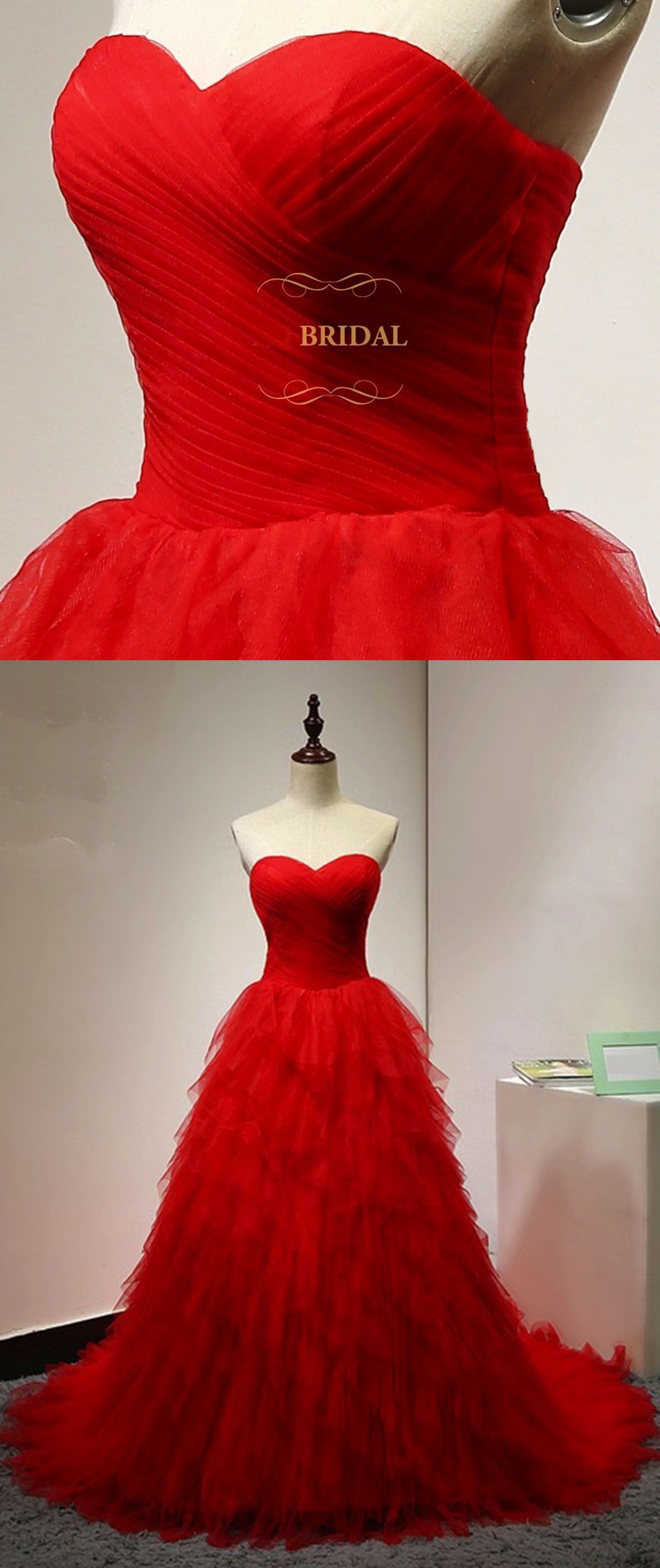 Sweetheart neck red tulle ruffles long strapless evening dress red