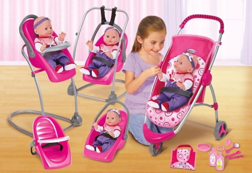 New Graco Baby Doll High Chair Swing Stroller Feeding Set