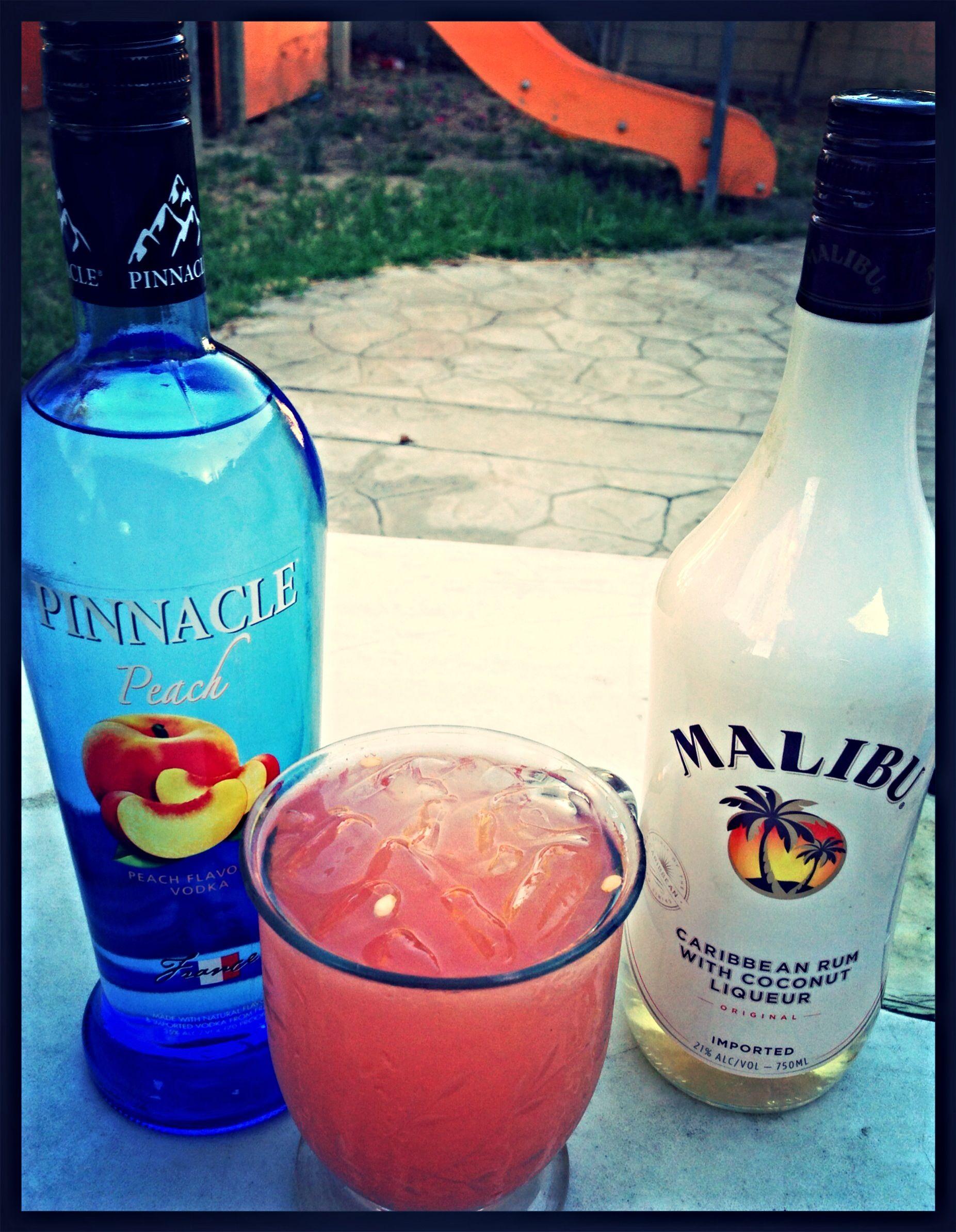 Fuzzy Melon= fresh purée watermelon equal parts peach vodka & Malibu