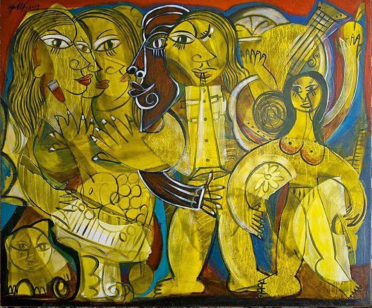 """Green Portugal/ Verde Portugal. Acrylic on canvas/ Acrílico sobre tela #m7 #arte #art #menelaw #menelawsete #cubismo #cubista #cubism #portugal #verde…"""