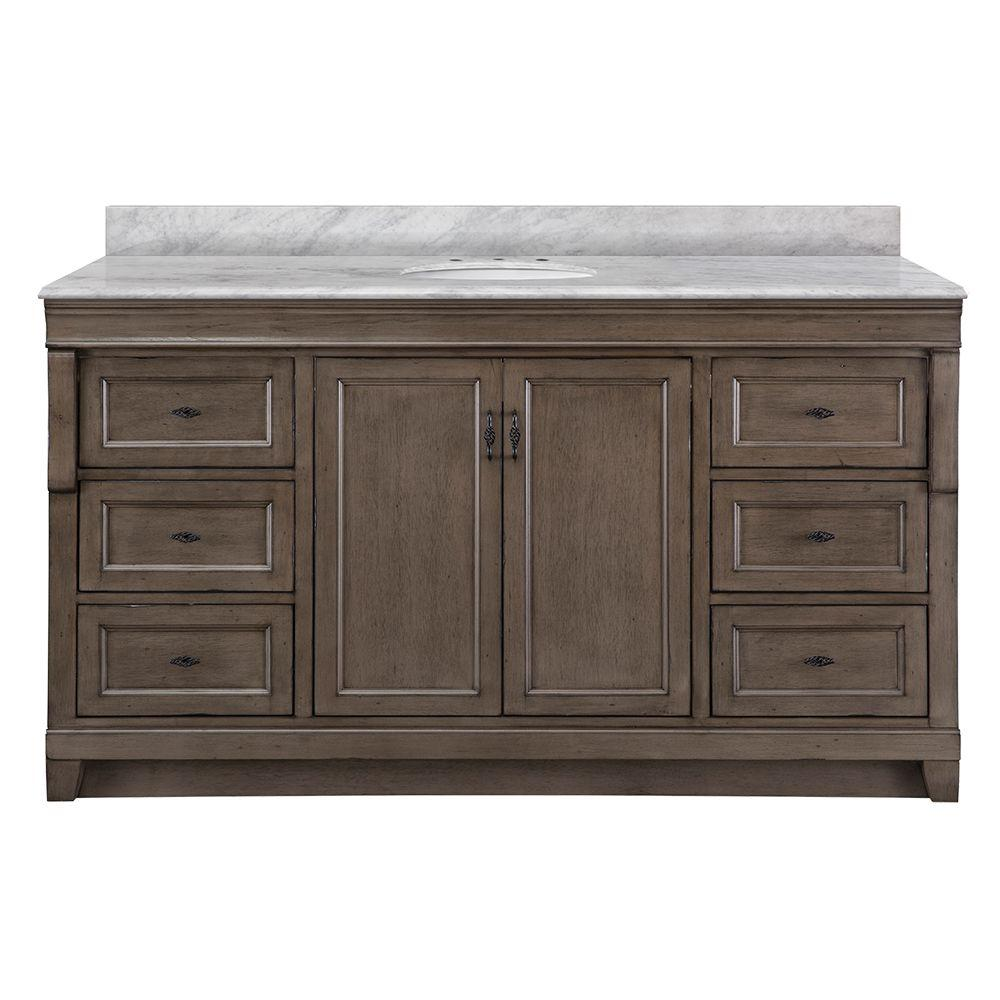 Home Decorators Collection Naples 61 In W X 22 In D Bath Vanity In Distressed Grey With Marble Vanit Marble Vanity Tops Vanity Top Home Decorators Collection