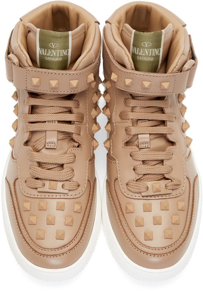 Valentino Beige Studded High-Top Sneakers