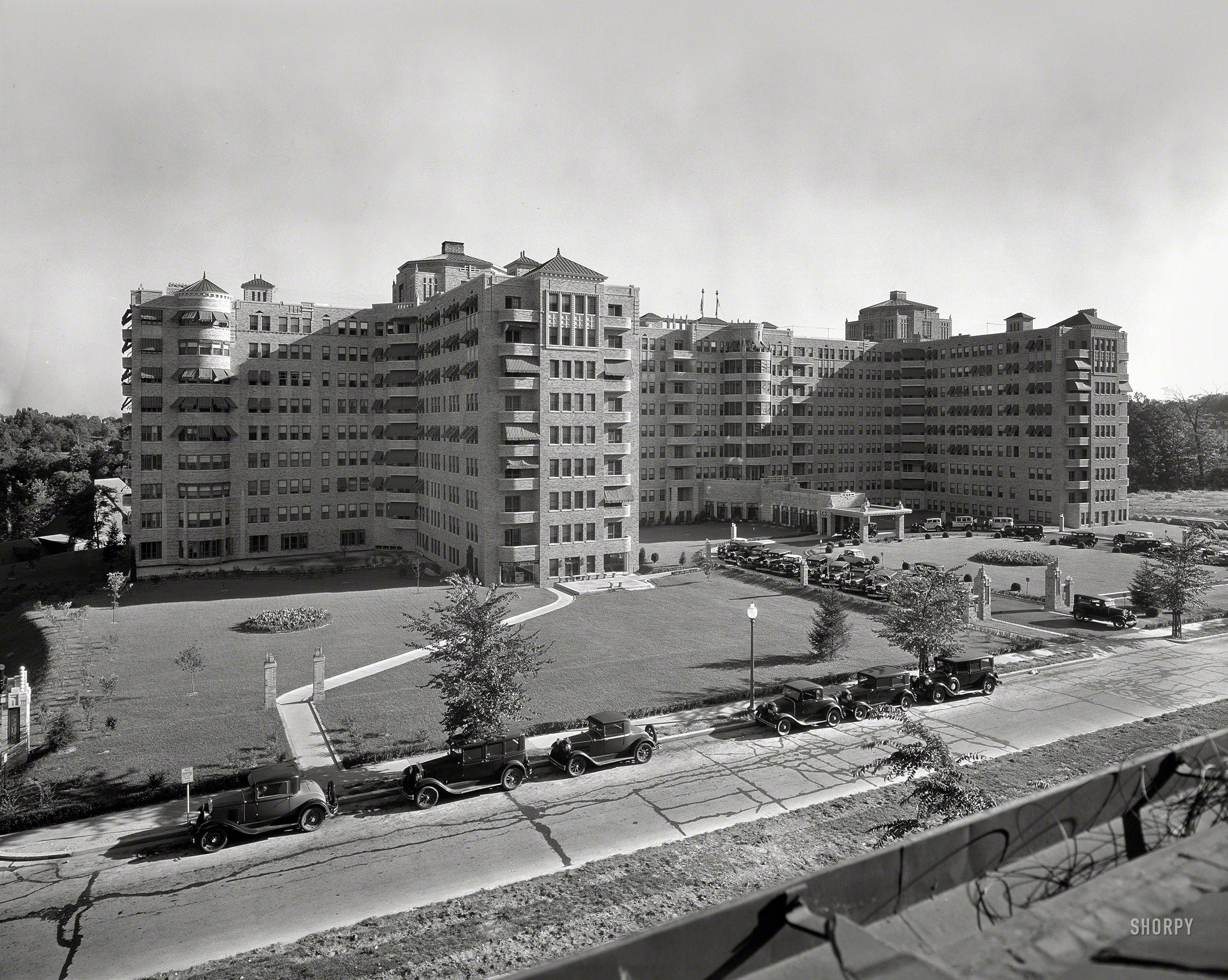 "Washington, D.C., circa 1932. ""Shoreham Hotel from across"