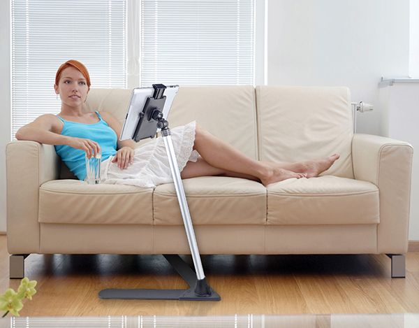 Ipad Holder For Bed Or Sofa 4' extending tablet floor stand with quick release holder [tab