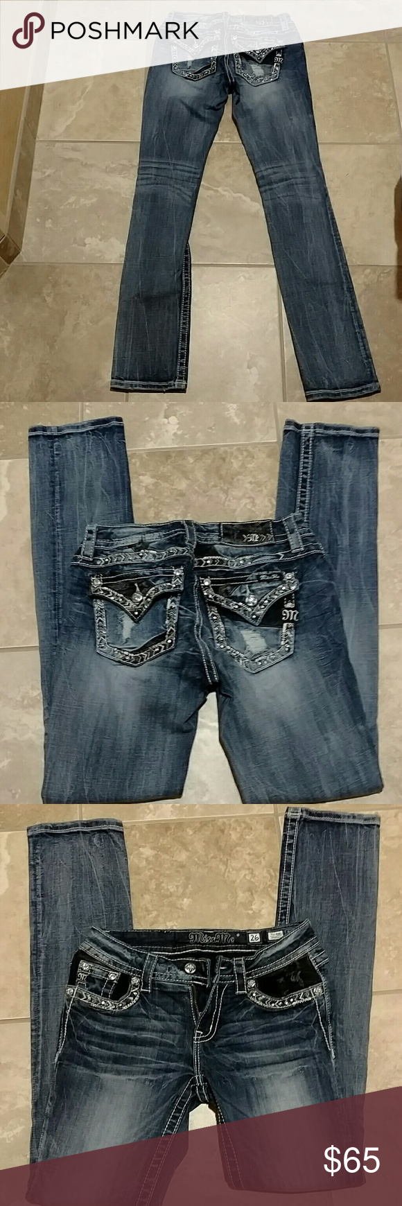 Miss me jeans Beautiful blue miss mes with bling and black patches. Super cute!!! Size 26, mid rise straight jeans. Inseam is 33 inches, rise is 7.5 inches and waist flat measures 14.5 inches 98% cotton 2% elastane Miss Me Jeans Straight Leg