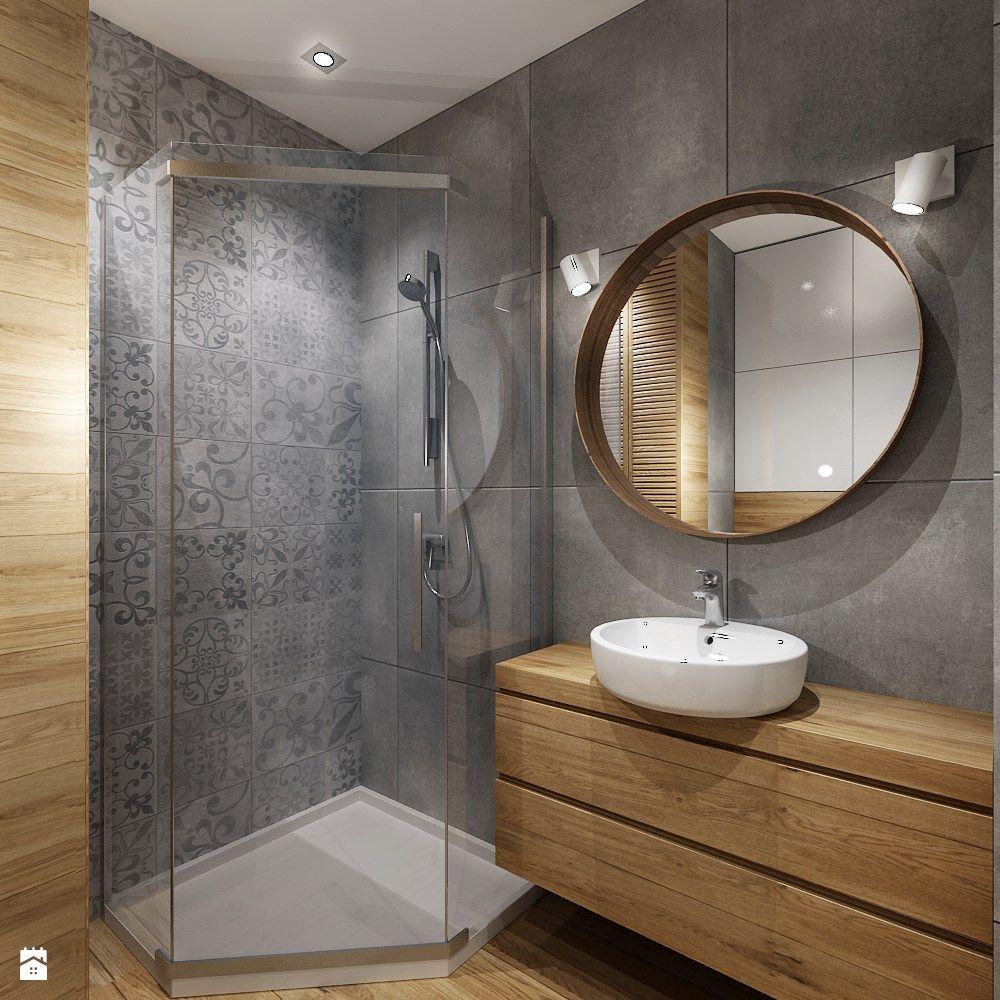 Szklany Narożny Prysznic Ale Gładkie ściany Lustro