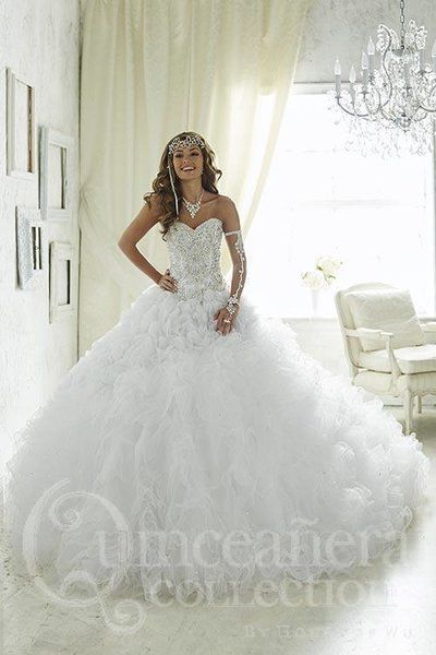 White princess quinceanera dresses
