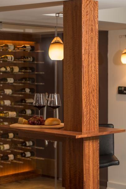 Wine Tasting Table Wraps Around Wood, Basement Pole Drink Shelf