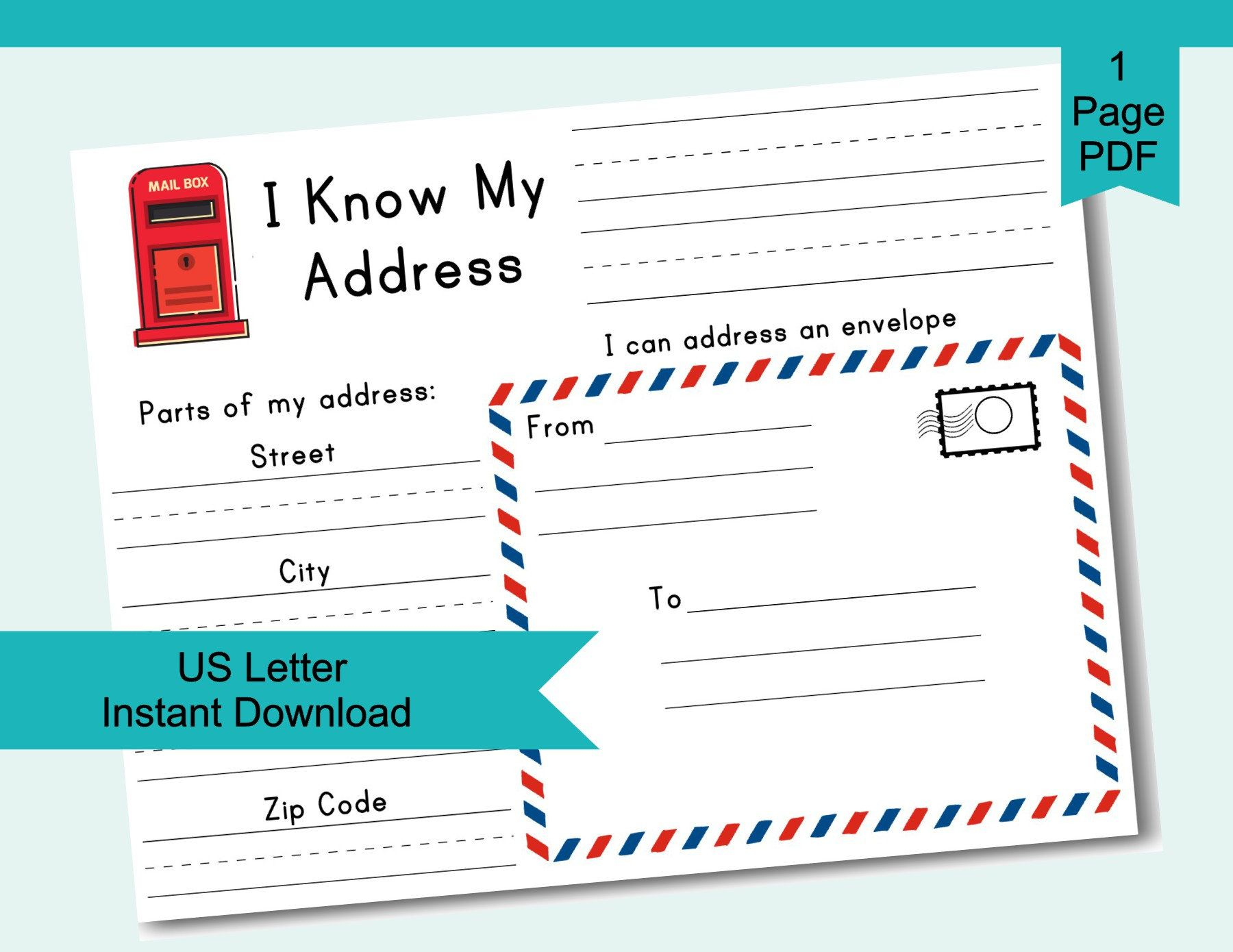 Learn My Address Worksheet Addressing Envelope Activity For   Etsy in 2021    Addressing envelopes [ 1390 x 1800 Pixel ]