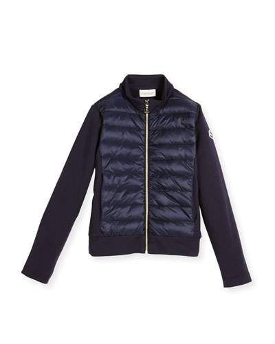Zip-Up Quilted & Knit Jacket, Size 8-14 | Knit jacket : quilted cardigan - Adamdwight.com