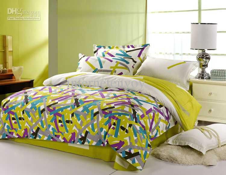 Wholesale purple blue green modern striped pattern full queen bedding comforter quilt duvet - Blue and green bedding sets ...