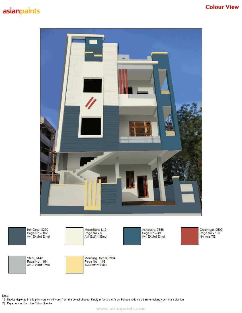 Pin By Narukulla Sridhar On Exterior Colour Combinations Cell 9441818532 Exterior Paint Color Combinations Exterior Paint Colors For House Asian Paints Colours