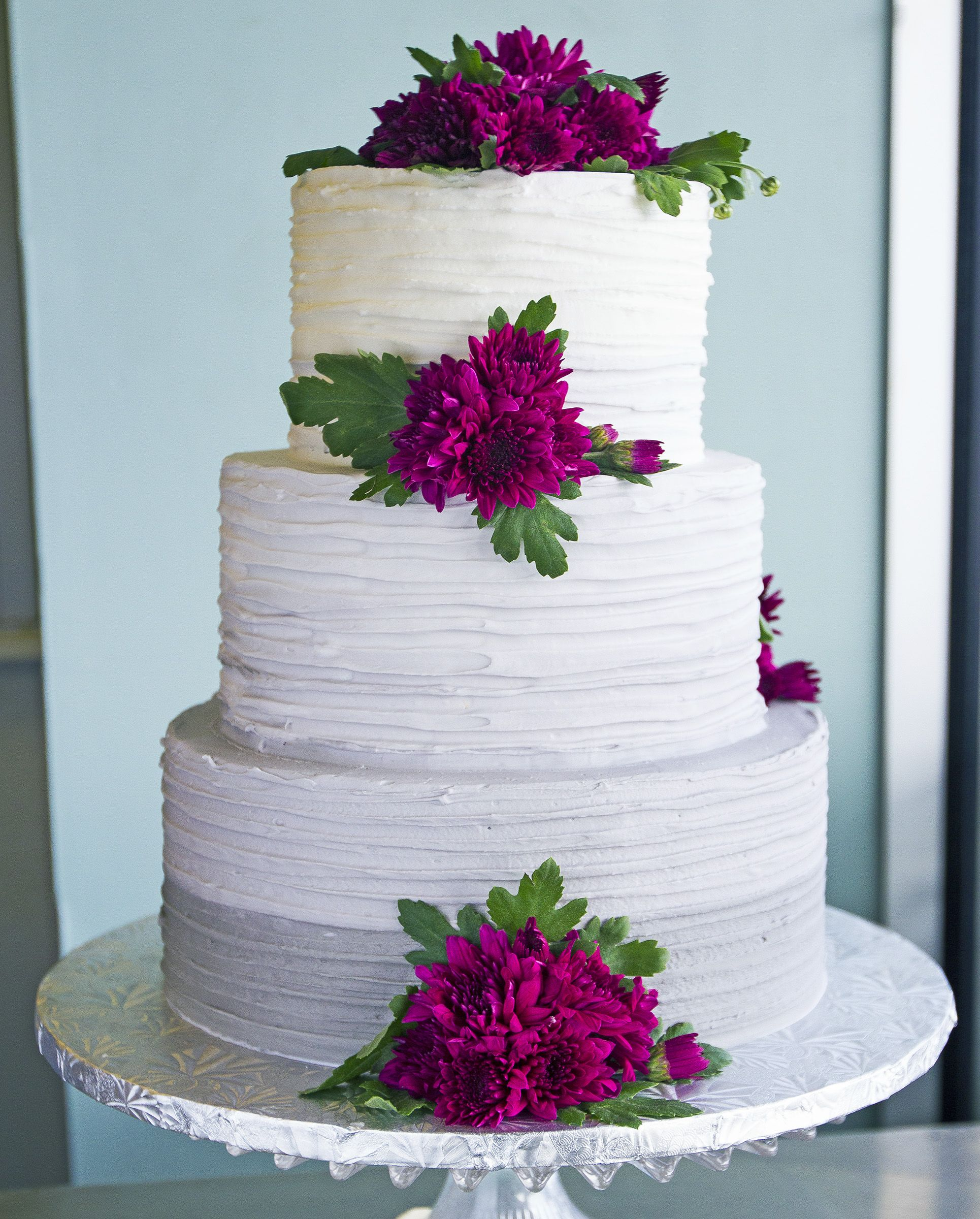 Simple White Wedding Cake With Purple Flowers Cake 177 Wedding