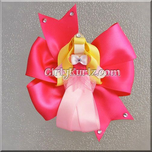 Sleeping Beauty Hair Bow Sleeping Beauty Ribbon by GirlyKurlz, $16.00