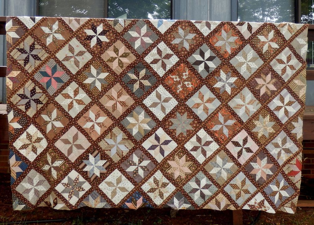 LATE 1800's STAR of LEMOYNE QUILT TOP - GREAT FABRICS - 78 PATTERN BLOCKS in Antiques, Linens & Textiles (Pre-1930), Quilts | eBay