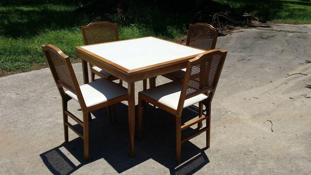 Vintage Leg O Matic Folding Table 4 Folding Chairs Dining Set Card Table Dining Set Folding Table Folding Chair