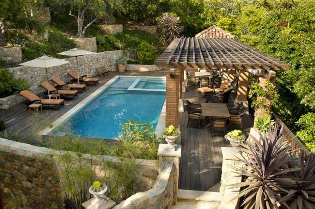 Estilo rustico piscinas rusticas piscinas piscinas for Patios de casas modernas con piscina