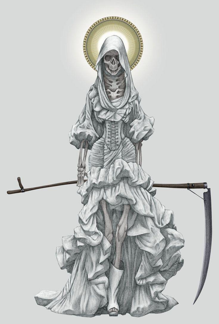 La Santa Muerte By Angelero D4sx8o9 Jpg 735 1 088 Pixels Santa