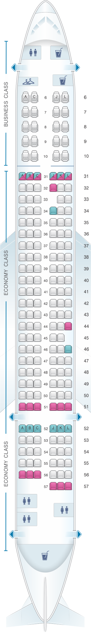 Seat Map China Eastern Airlines Airbus A321 200 China