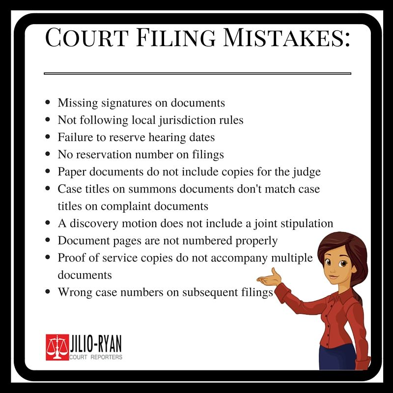 Avoid these Court filing mistakes JilioRyan