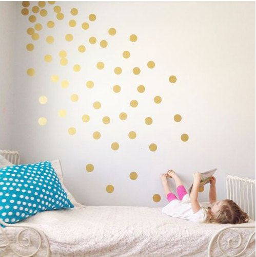 Gold Polka Dots Wall Decals Metallic Golden Polka By DecalsFreeze