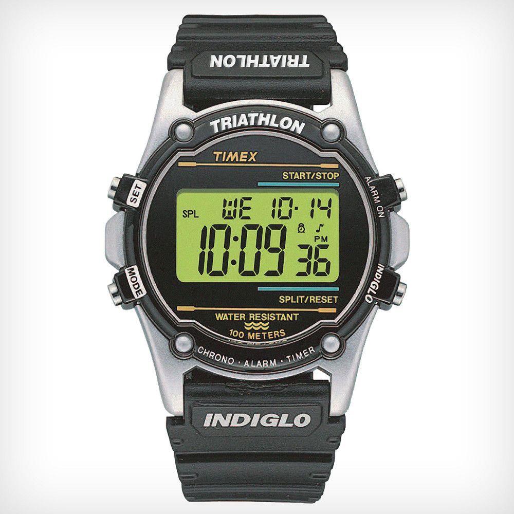 285ac81f7d4 Timex T77511 Men s Atlantis 100 Green Digital Dial Silver Resin Case Black  Rubber Strap Chronograph Alarm