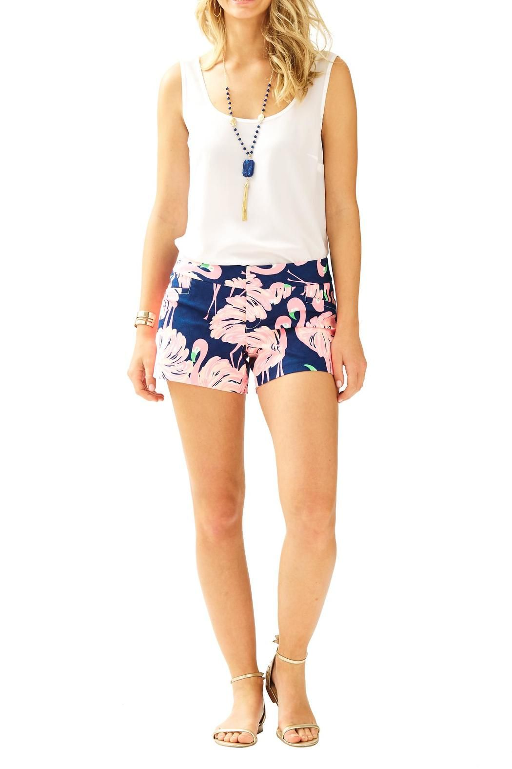 "We wanted to give you shorts that you can dress up or down. That's why we made you the Ellie short. Clean lines, fun patterns make for the great bottoms that can be worn for more casual days, or festive nights. 4"" inseam  with hook and bar closure. Faux front pockets and back welt pockets.    Ellie Short by Lilly Pulitzer. Clothing - Shorts Sandestin Golf and Beach Resort, Florida"