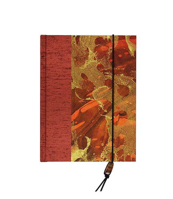 "COOL New #AddressBook Medium ""VOLCANO"" decorative cover/paper/bead #WolfiesBindery $23"