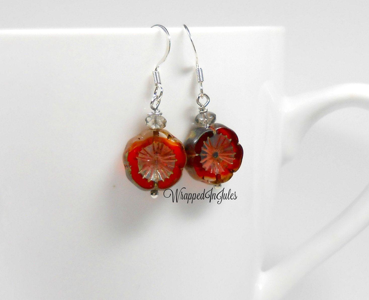 Red Petunia Drop Earrings, Dangle Earrings, Jewelry, Platinum Kissed Grey, Red…