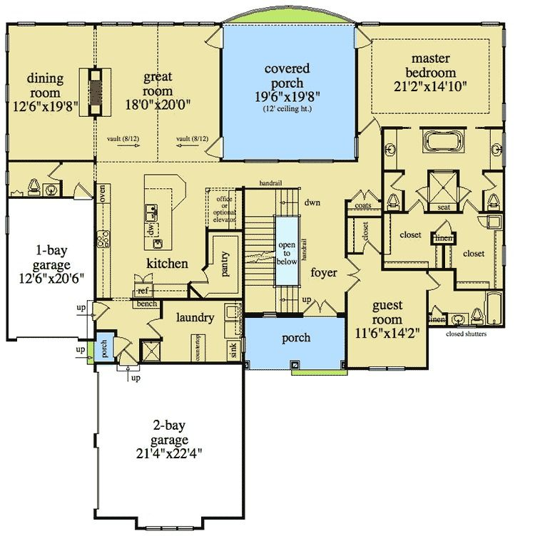 plan 29804rl 4 beds with elevator and basement options