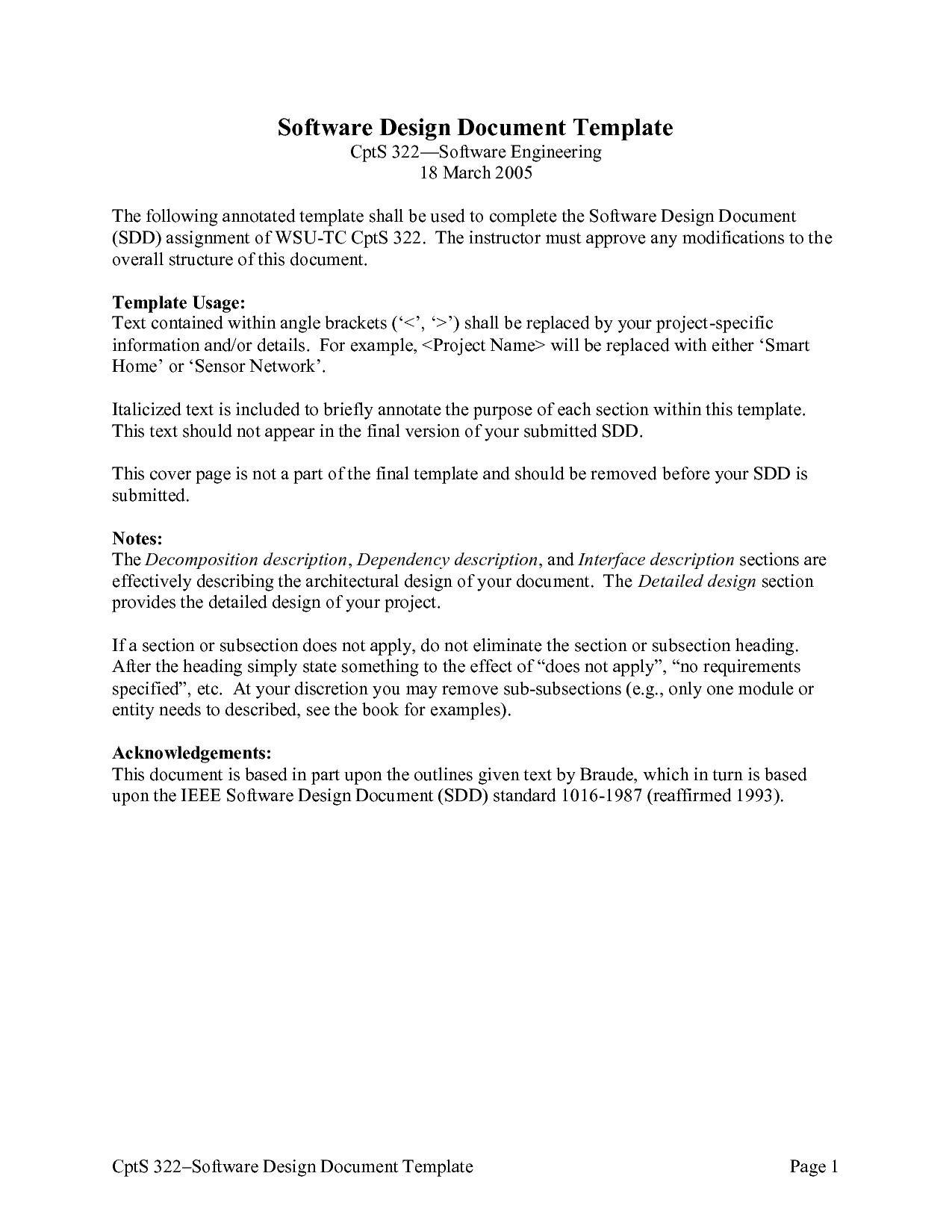Software Design Document Template Hervorragend Game Design
