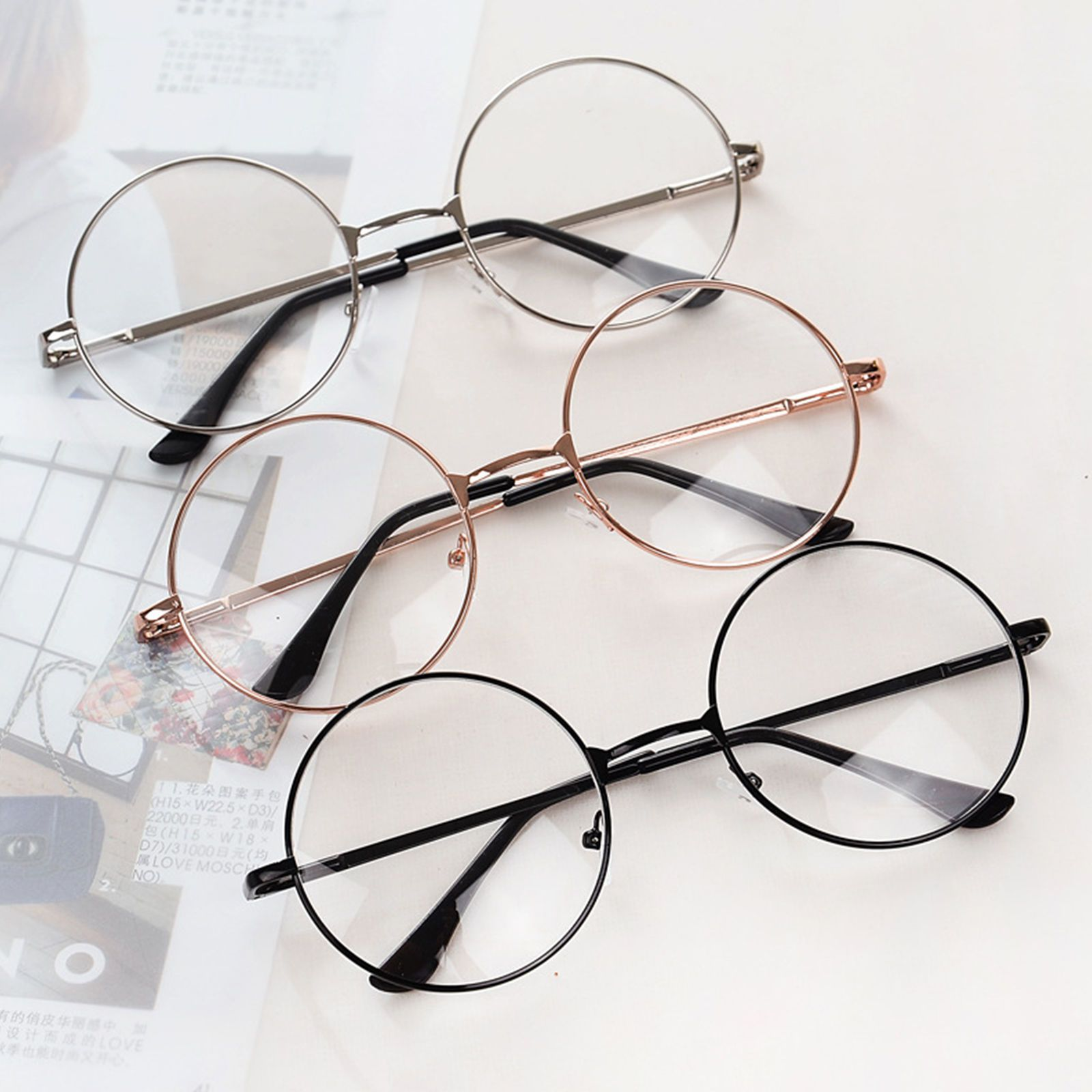 a3ba5ee450 Fab Women Men Large Metal Frame Clear Lens Round Circle Eye Glasses Nerd  Vintage